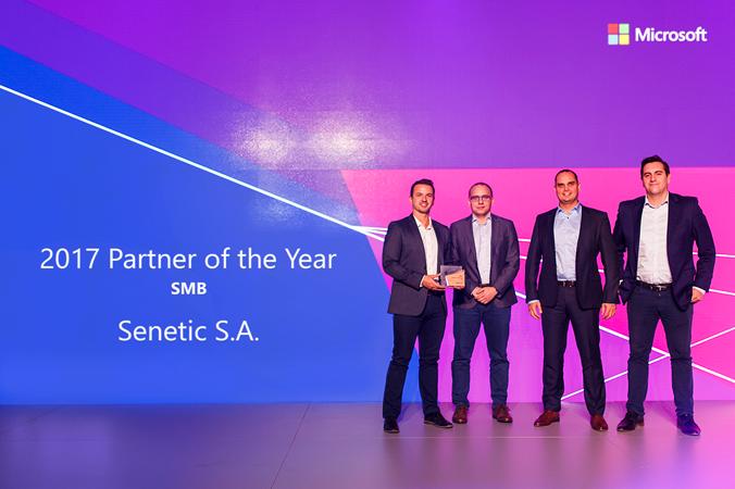 Od lewej: Łukasz Bojar, wiceprezes Senetic, Jacek Kotynia, Business Development Manager, Marcin Białożyt, CEO firmy i Konrad Nieboj, Microsoft Cloud Team Leader.