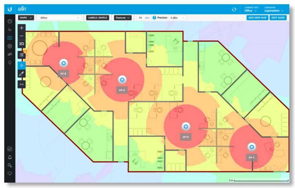 Rozwiązania Ubiquiti umożliwiają monitorowanie i analizę zasięgu sieci bezprzewodowej.